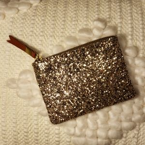 Madewell Leather Pouch Wallet Glitter Gold NWT